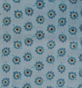 FLORAL Blue & Brown Fabric 100% COTTON 1 YARD