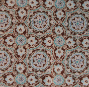 FLORAL BROWN TEAL Fabric 100% COTTON 1 YARD