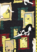 Quilt Gate Japanese Fabric - Neko Cats & Picture Frames - Black