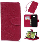 Galaxy S6 Case,Samsung Galaxy S6 Case - Wallet Flip Stand Case Embossed Plants PU Leather Case Shockproof Soft TPU Inner Bumper Slim Protective Card Slots Wrist Strap Cover by Badalink - Red