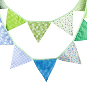 3.2m Multicolor Handmade 12Flags Bunting Double Side Fabric Flag Banner Garland Wedding Party Decoration -All U Need