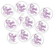 90 Purple Thank You For Celebrating 3.8cm Round Party Favour Stickers / Envelope Seals/ Favour Decorations