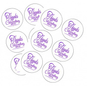 90 Neon Purple Thank You For Celebrating 3.8cm Round Party Favour Stickers / Envelope Seals/ Favour Decorations