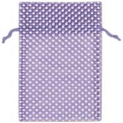 Purple Polka Dot Organdy Bags, 15cm x 25cm