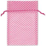 Hot Pink Polka Dot Organdy Bags, 15cm x 25cm