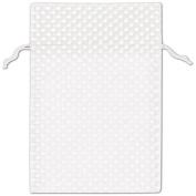 White Polka Dot Organdy Bags, 15cm x 25cm