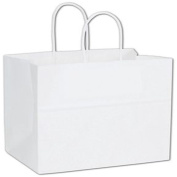 "Recycled White Kraft Paper Shoppers Emerald, 10x 5"" x 27cm"