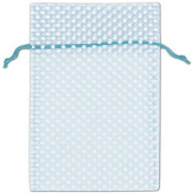 Light Blue Polka Dot Organdy Bags, 15cm x 25cm