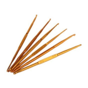 6pcs Golden Aluminium Double End Crochet Hooks Knitting Needles 2.0 - 7.0mm