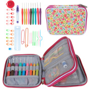 Teamoy Ergonomic Crochet Hook Set - with Organiser Case and Complete Accessories /Crochet Kit, Flowers Pink