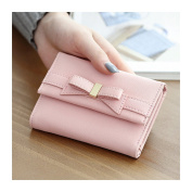 HeySun Bowknot Soft Leather Card Holder Mini Trifold Fashion Wallet Coin Purse for Women