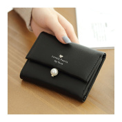 HeySun Women's Leather Card Holder with Coin Purse Mini Trifold Fashion Wallet