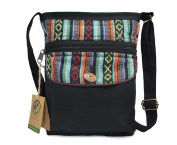 Mato Crossbody Bag Boho Zipper Shoulder Side Purse Bohemian Tribal Aztec Pattern Black