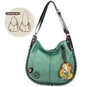 Chala Charming Hobo Crossbody Bag with Mermaid - Teal