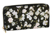 Corona Collection Black with White Floral Print Faux Leather Zip Around Clutch Wallet