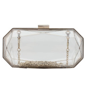 Flada Women's Clear Clutch Evening Handbag Purse Transparent Acrylic Crossbody Bag