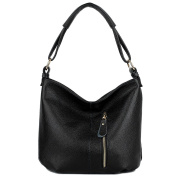 YALUXE Women's Front Pocket Soft Cowhide Leather Purse Hobo Style Shoulder Bag