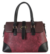 Diophy PU Leather Two Tone Birkin Style Tote Accented with Buckle Décor Womens Purse Handbag AB-011