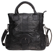 Iblue Womens Lambskin Leather Tote Bag Travel Shoulder Purse Black #ic5