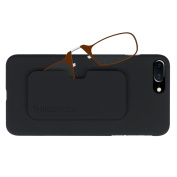 ThinOPTICS Stick Anywhere, Go Everywhere Reading Glasses plus Black iPhone 7 Plus Case, Brown Frame, Black Case,1.50 Strength