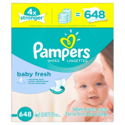 Pampers Refreshing scent, Hypoallergenic, Unique Softgrip Texture, Pure Water Lotion Baby Fresh Baby Wipes Refill Pack 648 Count
