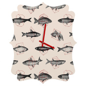 DENY Designs Florent Bodart Fishes In Geometrics Quatrefoil Clock, Small