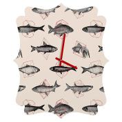 DENY Designs Florent Bodart Fishes In Geometrics Quatrefoil Clock, Small