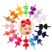 Baby Girls Headbands 16Pcs Baby Girls Toddlers Kids Children Solid Grosgrain Ribbon Boutique Elastic Headbands with 11cm Hair Bow