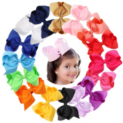 Baby Girls Hair Bow Clips 16Pcs 11cm Baby Girls Children Kids Toddlers Solid Grosgrain Ribbon Boutique Hair Bows Hair Pin with Alligater Clips