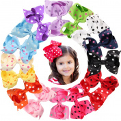 Baby Girls Hair Bow Clips 16Pcs 11cm Baby Girls Children Kids Toddlers Polk Dot Grosgrain Ribbon Boutique Hair Bows with Alligater Clips