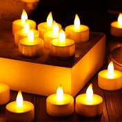 Tuscom 12pc LED Tea Light Candles Realistic Battery-Powered Flameless Candles