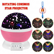 Night Lighting, 3 Modes Rotating Star Light Projector 4LED Romantic Night Lamp Projection, Cosmos Star Sky Moon Lamp Projector for Kids Baby Bedroom, Christmas Gifts BY Noza Tec