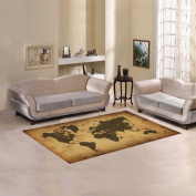 JC-Dress Area Rug Retro World Map Modern Carpet 1.5mx0.9m