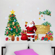 Christmas Tree Wall Stickers Sante Claus Decals for Kids Bed Room Nursery Room Home Wall Furniture Window Decorations