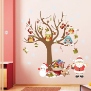 Christmas Owl Wall Stickers Tree Decals for Kids Bed Room Nursery Room Home Wall Furniture Window Decorations