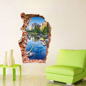 EMIRACLEZE .  3D Style Colourful Pond Mountain Scenery Removable Mural Wall Stickers Wall Decal for Living Room Study Room Wall And Home Decor