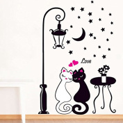 EMIRACLEZE Romantic Black and White Lover Cat Under Street Lamp Removable Mural Wall Stickers Wall Decal for Living Room Home Wall Decor