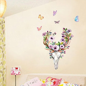 EMIRACLEZE Sika Deer Head With Beautiful Flower Happy New Year Removable Mural Wall Decal for Window Decoration Bed Wall Decor