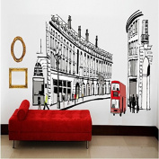 EMIRACLEZE Cityscape Wall Stickers European Style Removable Mural Wall Decal for Bedroom Office Wall Decoration