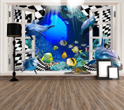 LB Prepasted Wall Mural Foto Wall Decor Wallpaper Undersea World