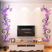 WT-PP One Set 3d Stereo Acrylic Flower Wall Murals for Living Room Bedroom Sofa Backdrop Tv Wall Background Purple(Left + Right)