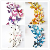 WT-PP 48pcs Magnetic 3D DIY Colour Butterfly Crafts Wall Sticker Home Decoration Decals Room Decor