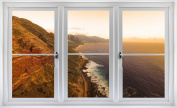 60cm Window Landscape Scene Nature View KAENA HAWAIIAN COAST SUNSET #1 WHITE CLOSED Wall Sticker Room Decal Home Office Art Décor Den Mural Man Cave Graphic SMALL