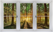 60cm Window Landscape Scene Instant Nature View FOREST TREES at SUNSET #1 WHITE CLOSED Wall Sticker Room Decal Home Office Art Décor Den Mural Man Cave Graphic SMALL