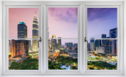 60cm Window Landscape Scene Instant City View KUALA LUMPUR SKYLINE SUNSET #1 WHITE CLOSED Wall Sticker Room Decal Home Office Art Décor Den Mural Man Cave Graphic SMALL