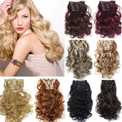 8Pcs 18 Clips 50cm Curly Wave Synthetic Hair Full Head Clip in On Hair Extensions Pieces
