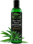 Green Leaf Naturals Aloe Vera Beard Conditioner and Softener for Men - Leave-In Moisturiser, No Oil, No Mess - 99.75% Organic - Unscented - 240ml