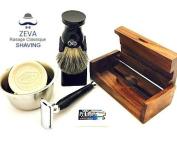 Mens Shaving Set Badger Hair Shaving Brush Buffalo Horn Handle Collectible Safety Razor Classic Shave Vintage Holiday Season Gift Idea