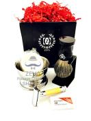 Mens Grooming Shaving Set Badger Hair Shaving Brush Classic Double Edge Safety Razor Mens Grooming Gift Set