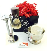 ZEVA Rassage DE Safety Premium Shave Shaving Set Soap Bowl Brush Kit Men Gifts